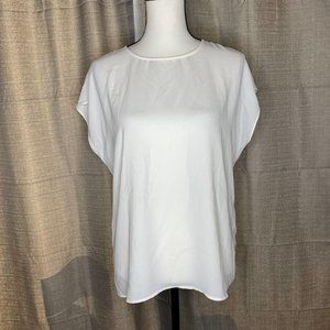 Halogen White Cap Sleeve Boxy Jewel Neck Blouse S